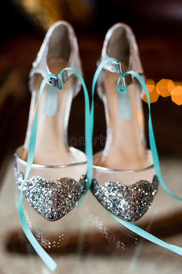 Wedding Shoes. Sparkle wedding shoes on display stock photos