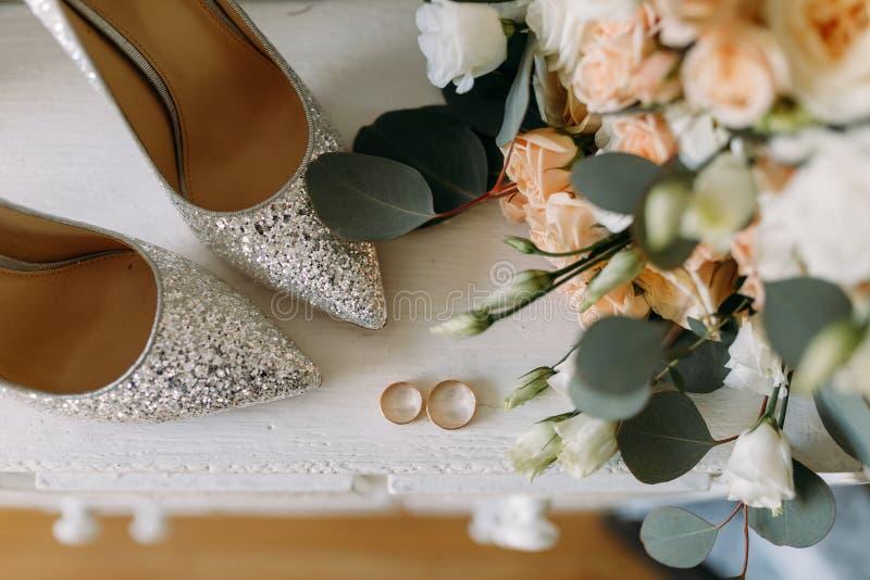 Wedding shoes and wedding paraphernalia royalty free stock image