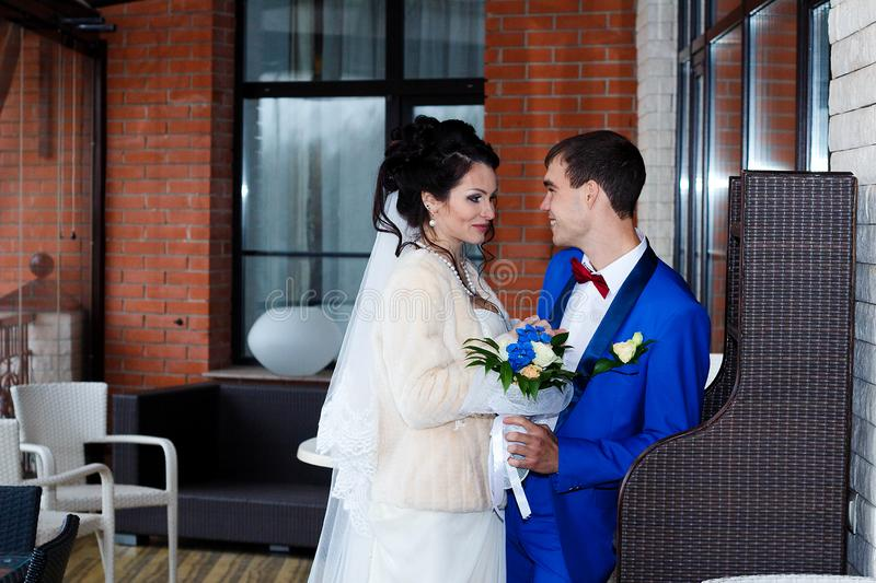 wedding shooting indoors, the bride and groom just got married royalty free stock images
