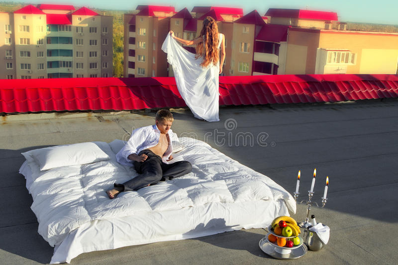 Wedding shot on roof royalty free stock image