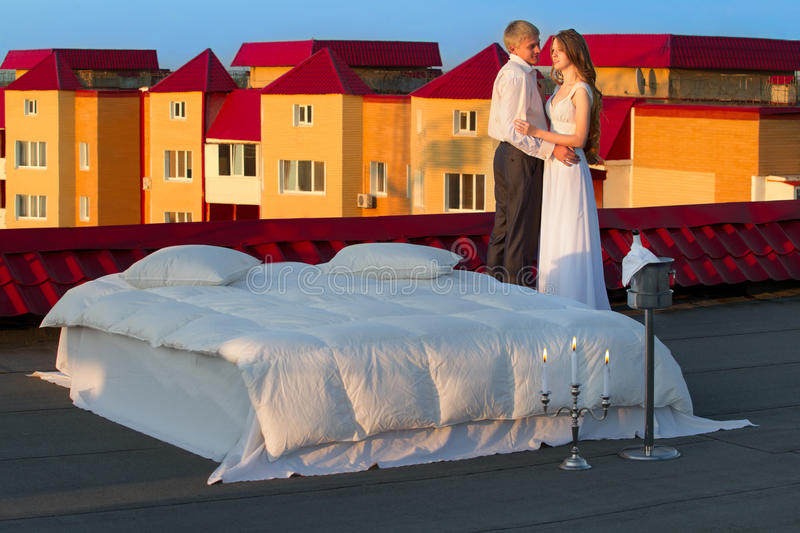 Wedding shot on roof royalty free stock photos