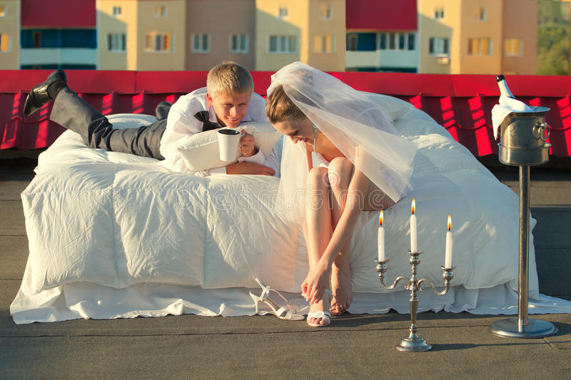 Wedding shot on roof royalty free stock images