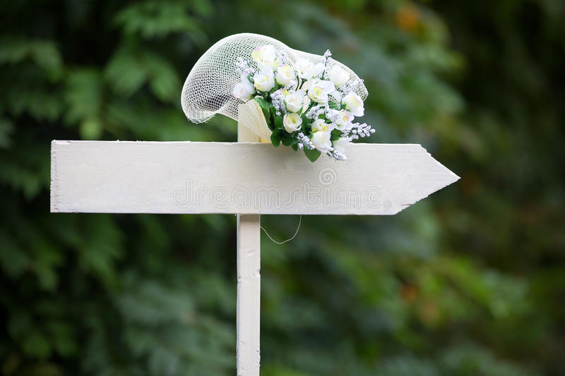 Wedding Sign with Green Background. Blank Sign with Green Background in a Wedding Day royalty free stock images