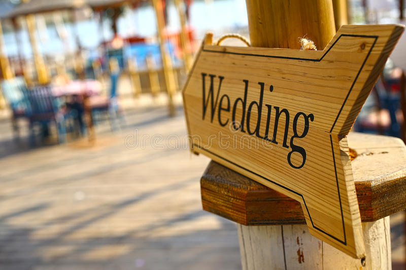 Wedding signboard. Signage in the area for a wedding royalty free stock photo