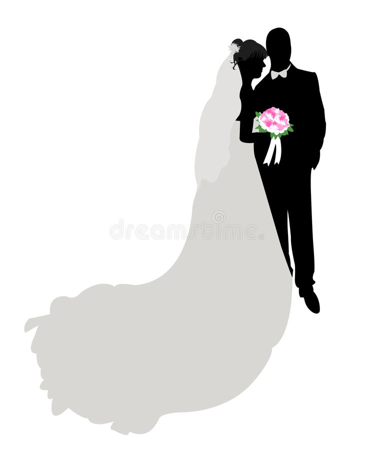 Wedding silhouette, figure. And illustration royalty free illustration