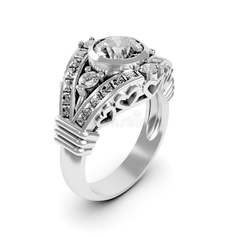 Free Wedding Silver Diamond Ring Royalty Free Stock Images - 26103459