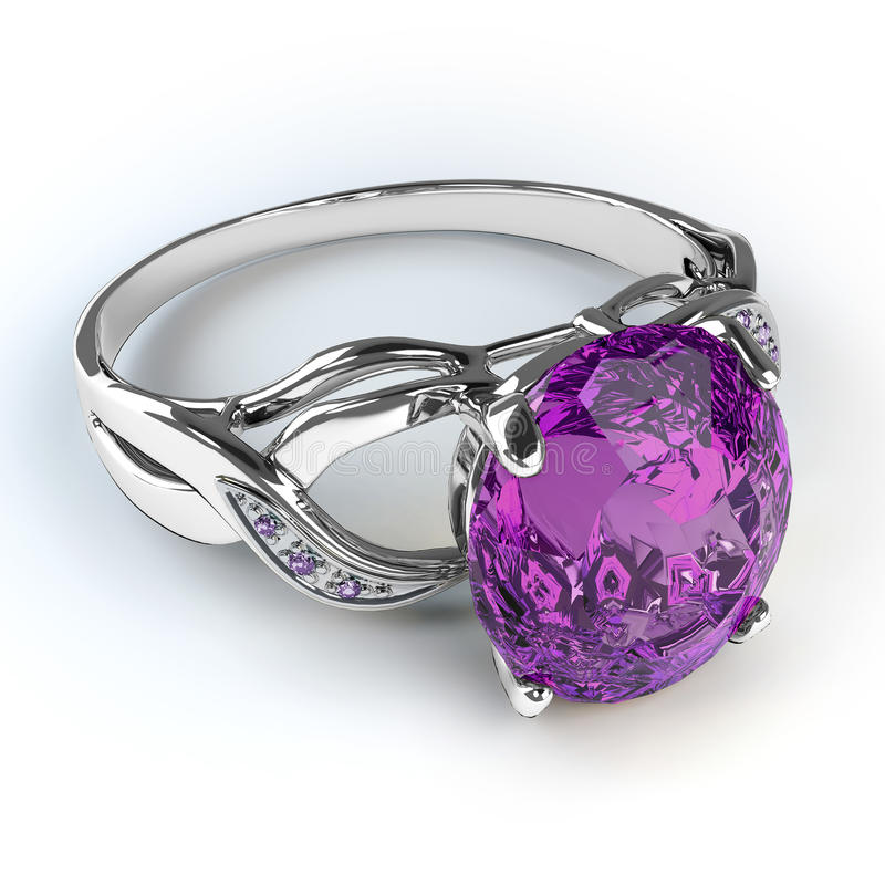 Wedding silver diamond ring. Isolated on white background royalty free illustration