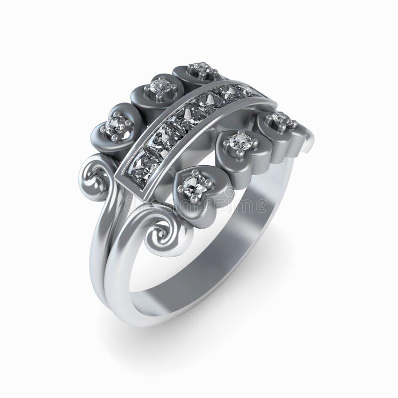 Wedding silver diamond ring isolated