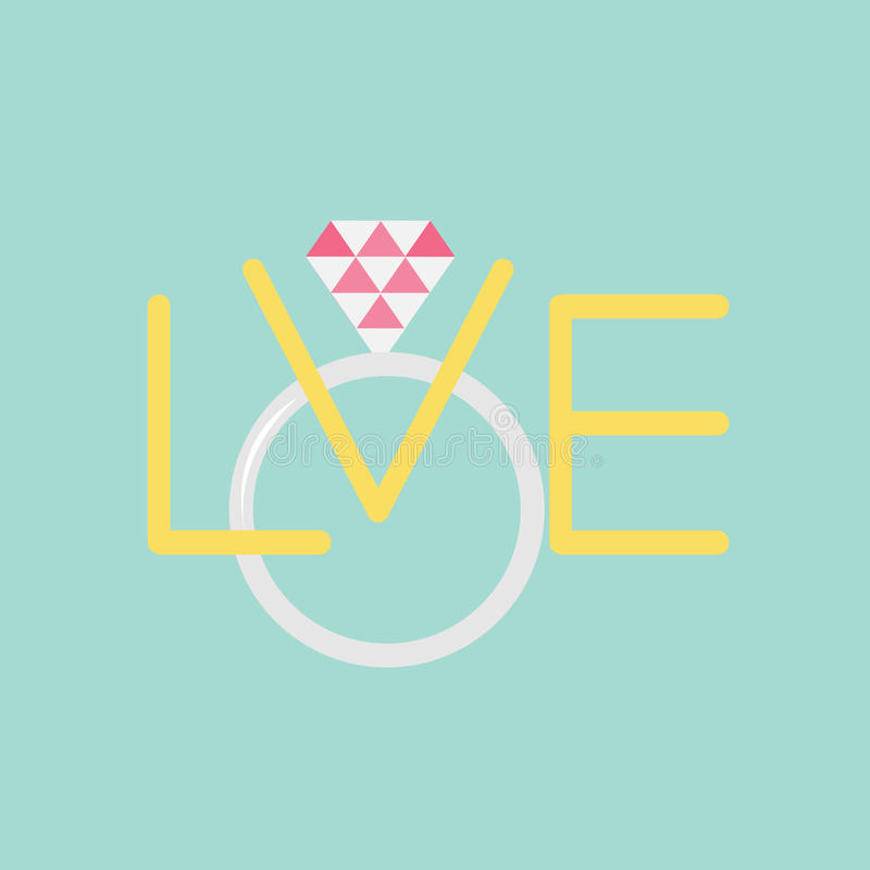 Wedding silver ring with polygonal pink diamond. Word love Flat design. Vector illustration stock illustration