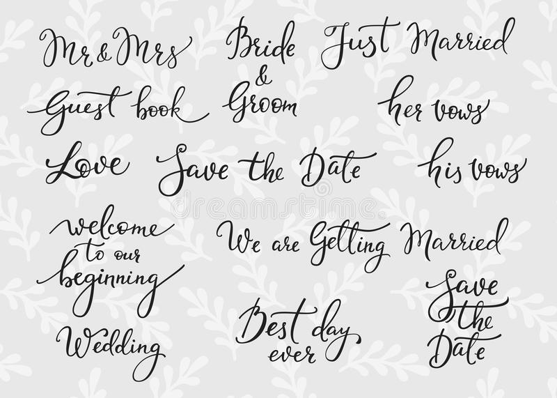 Download Wedding Simple Lettering Decor Stock Illustration