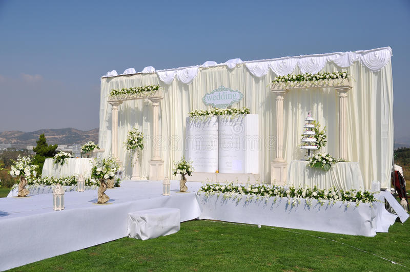Wedding Stage. An Chinese wedding stage at outdoor 。Photo taken in china royalty free stock photography