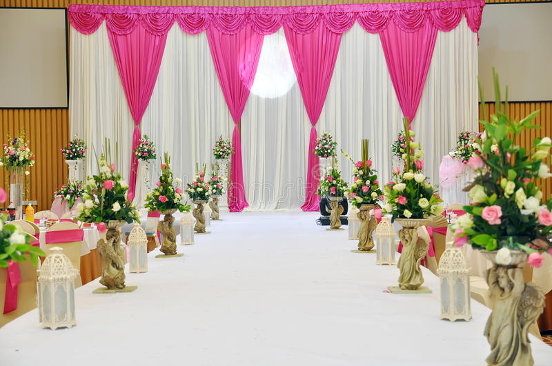 Wedding Stage. An Chinese wedding stage with traditional floral decoration Photo taken in china stock images