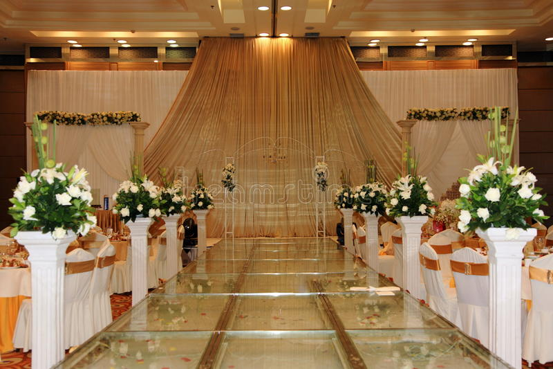 Wedding Stage. An Chinese wedding stage with traditional floral decoration stock images