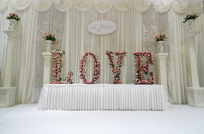 Wedding Stage. An Chinese wedding stage with traditional floral decoration Photo taken in china stock photos