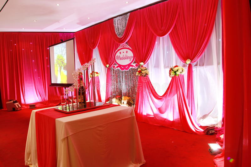 Wedding stage. A scene for the wedding ceremony,Chinese modern wedding royalty free stock image