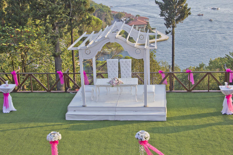 Wedding stage. Wedding ceremony stage in garden at sea shore istanbul royalty free stock images