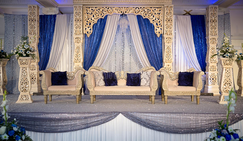 Wedding stage. Gold blue themed wedding stage stock photo