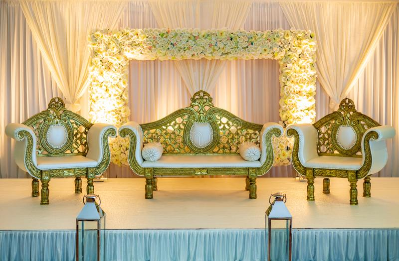 Wedding Stage in Gold. Yellow gold themed asian wedding stage stock photos