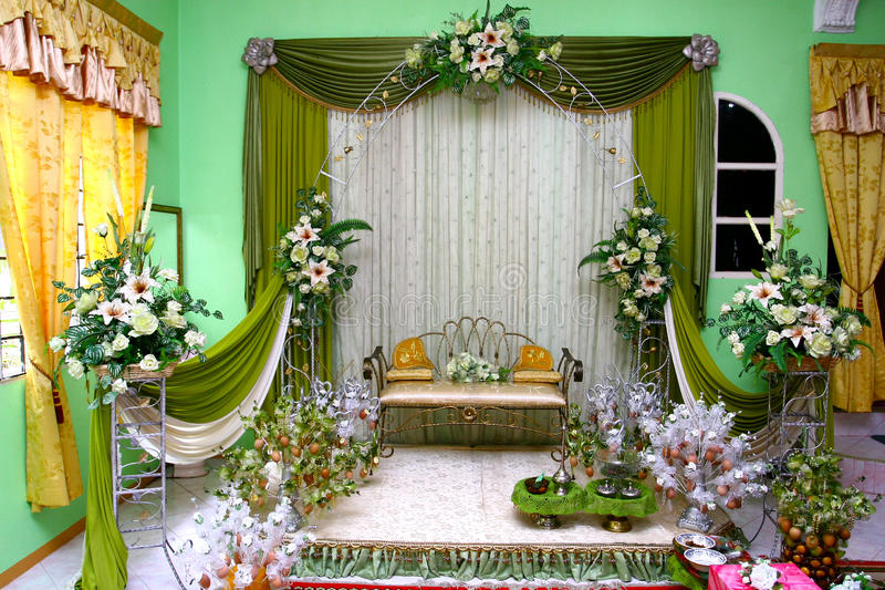 Wedding stage stock photo image of flowers marriage 48185740 malay traditional wedding stage decoration junglespirit Images