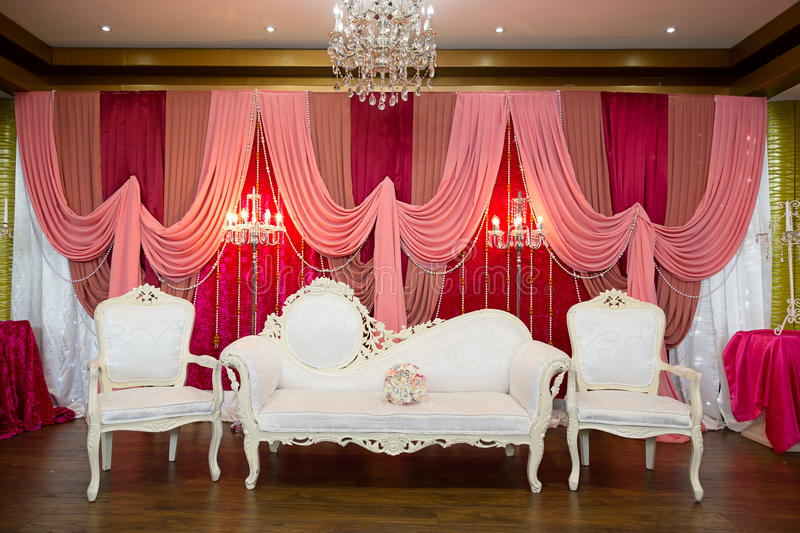 Wedding stage. Pink and white themed wedding stage stock photography