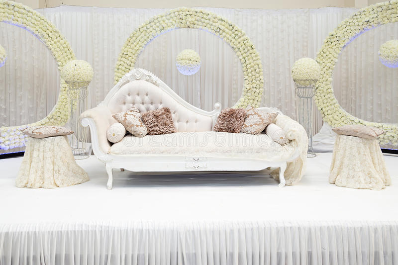 Wedding stage. White themed wedding stage asian royalty free stock image