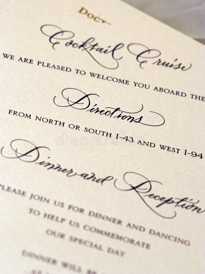 Wedding Stationary. Detail of wedding invitation stock photo