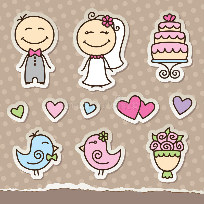 Download Wedding stickers stock vector. Image of marry, bridal - 25572108