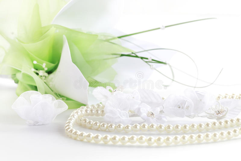 Download Wedding Still Life With Necklace And Bouquet Stock Image - Image: 23479305