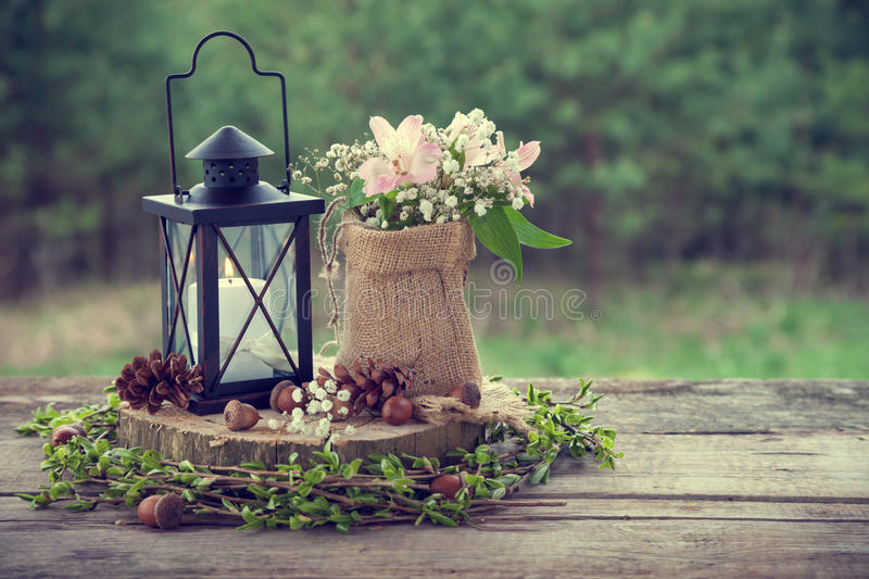 Wedding still life in rustic style. Retro stylized photo royalty free stock image