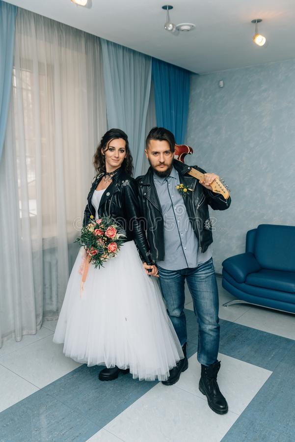 Wedding In The Style Of Rock. Rocker Or Biker Wedding. Stock Photo ...