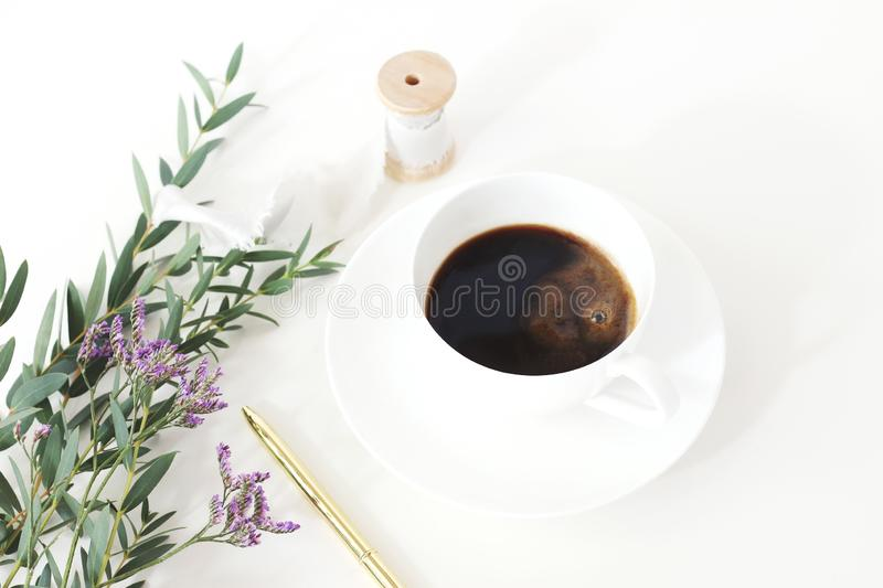 Wedding styled stock photo. Breakfast still life with eucalyptus leaves, limonium, baby`s breath Gypsophila flowers royalty free stock photography