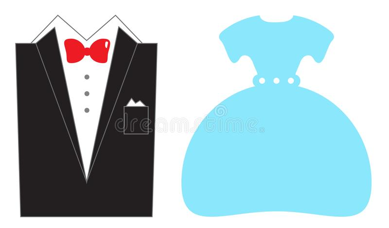 Wedding suit and dress isolated on white royalty free illustration