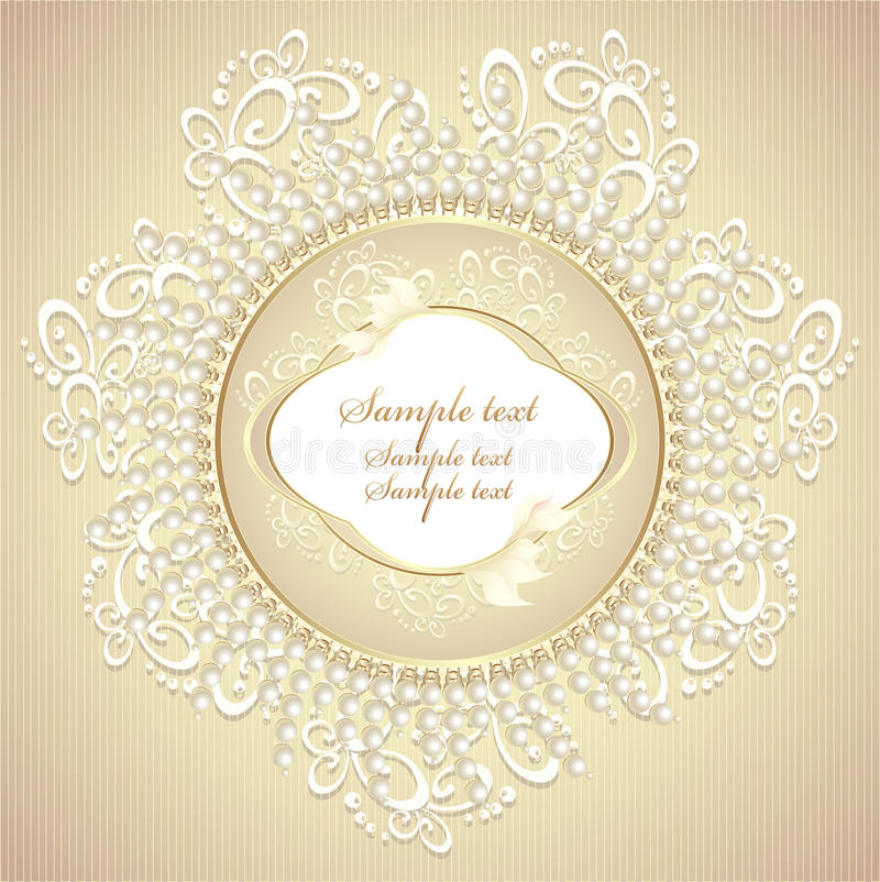 Wedding or sweet frame with pearls petals and lace stock illustration