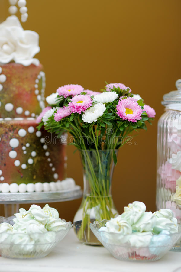 Wedding sweet table stock images