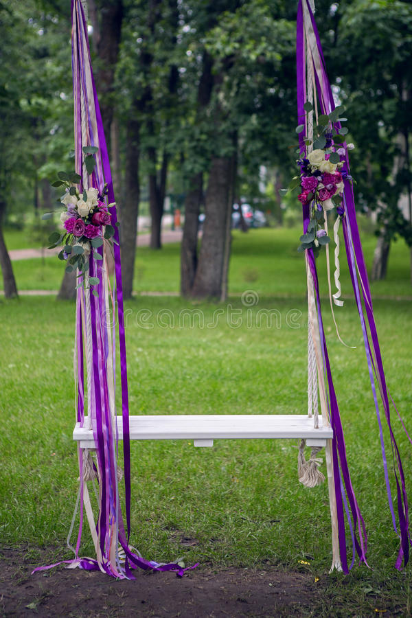 Wedding of the swing to the tree royalty free stock photo