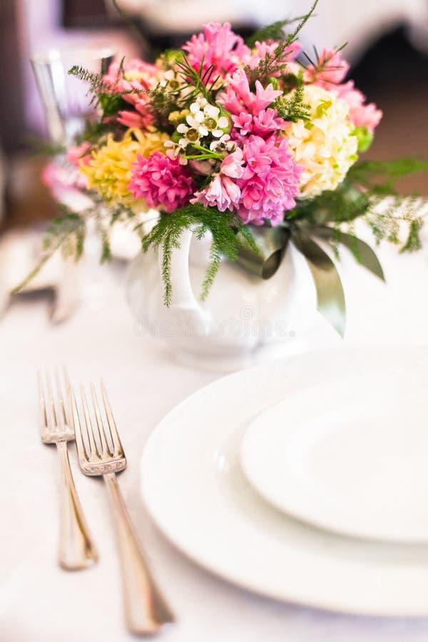 Wedding table. Detail of the wedding table stock photos