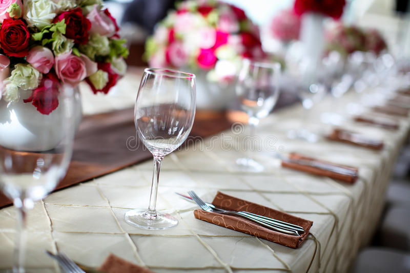 Wedding table. Set for dining stock images