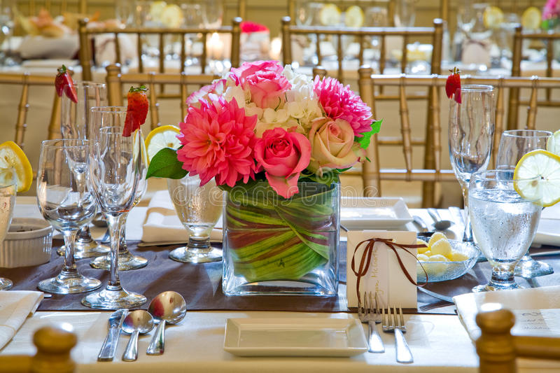 Wedding table. Decoration and floral centrepiece royalty free stock photos