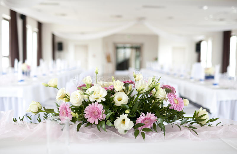 Wedding Table With Bouquet Of Flowers Stock Image - Image of bride ...