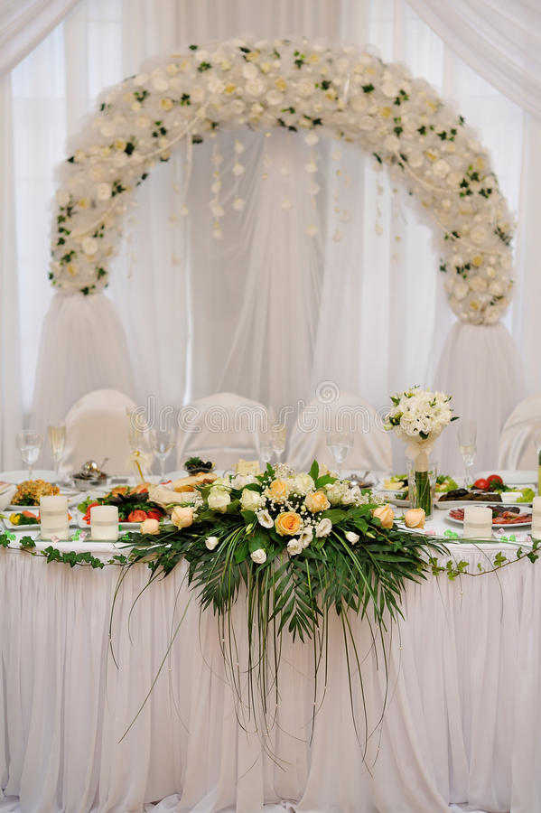 Wedding table. Bride and groom royalty free stock images