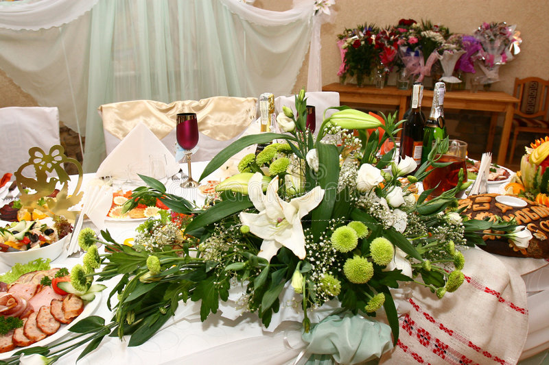 Wedding table with colours royalty free stock photography