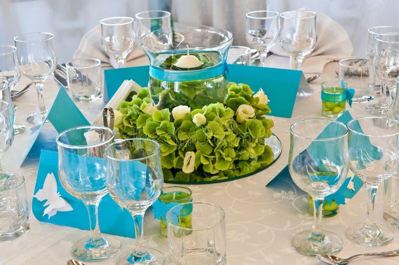 Beautiful wedding table decoration stock photos