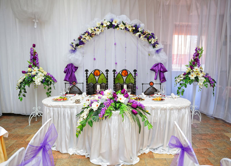 Download Wedding Table Decoration Bride And Groom Stock Photo   Image:  46488860