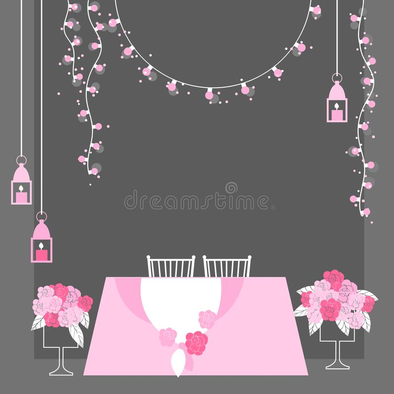 Wedding table for bride and groom. Wedding table decoration. Table for bride and groom. Vector illustration royalty free illustration
