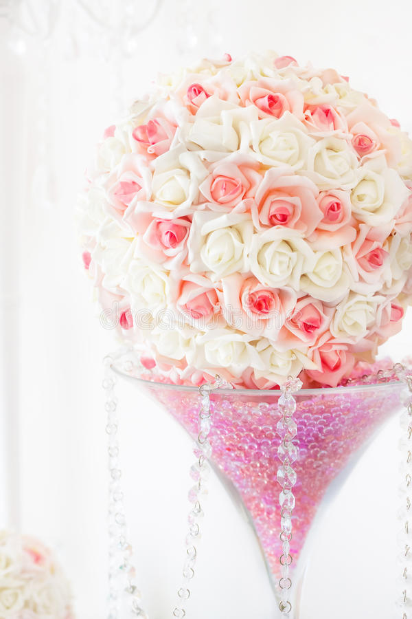 Wedding table decoration and floral centerpiece stock photo