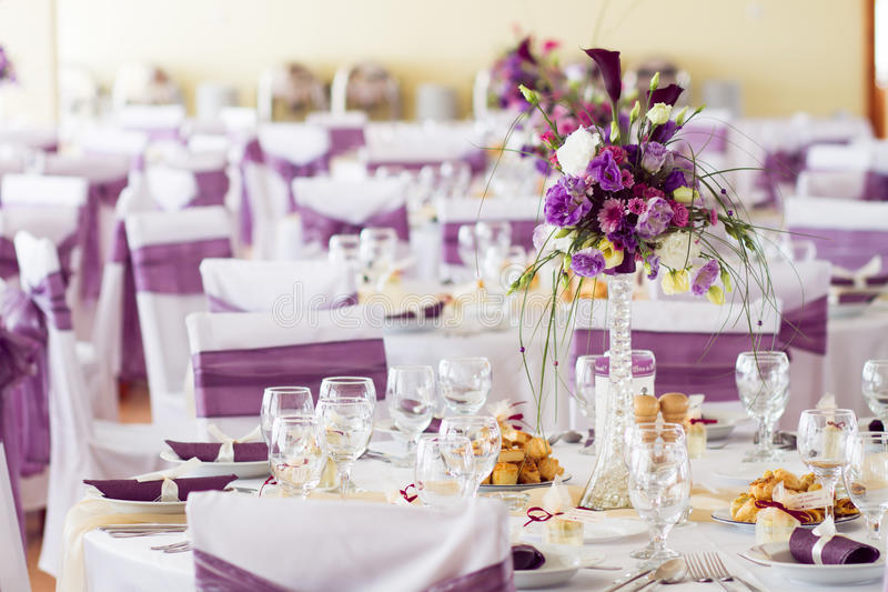 Indoor Wedding Venue Royalty Free Stock Photo: Wedding Table Decoration With Flowers. Stock Image
