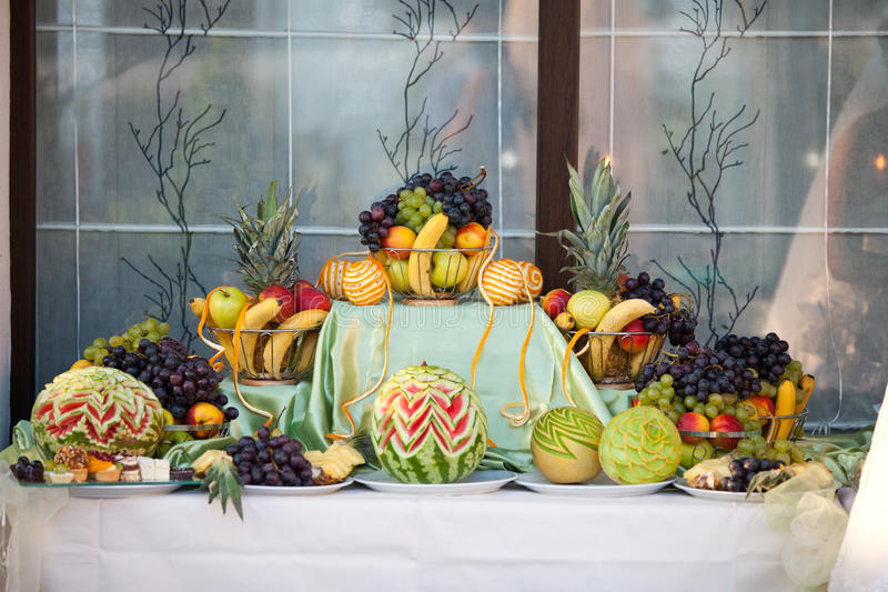 Wedding Table Decoration With Fruits Stock Photo - Image of fruits ...