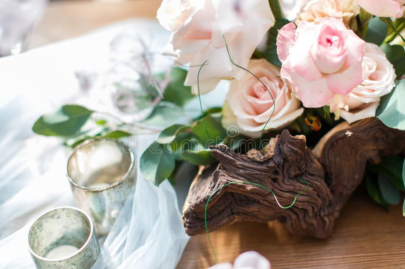 Wedding table decoration with grey and blue tulle royalty free stock photo