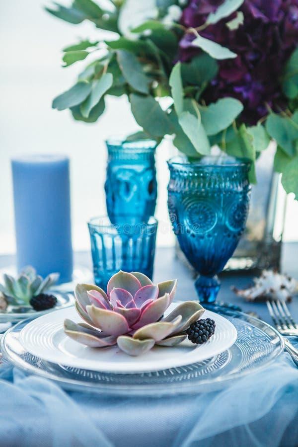 Wedding table decoration stock photos
