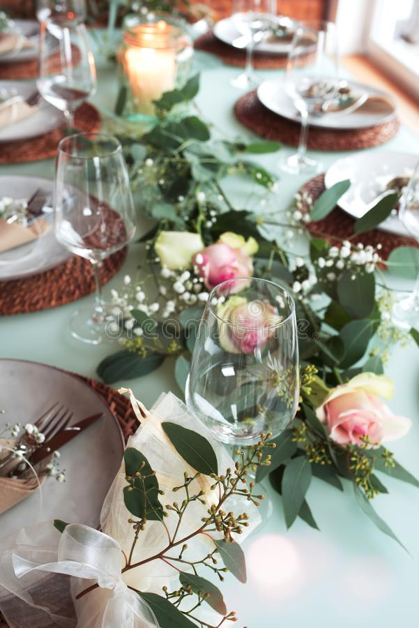 Festive decorated wedding table stock photos
